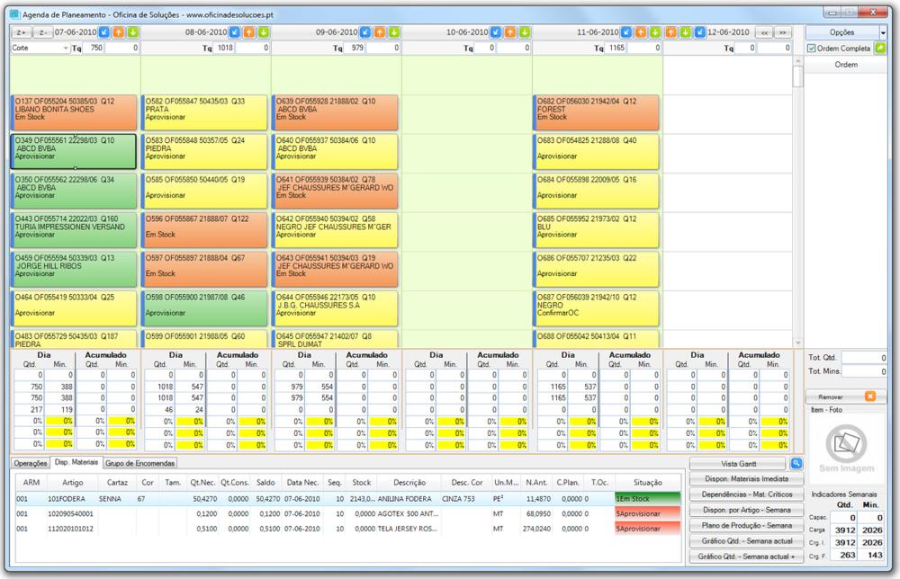 Ecrã principal do AgilPlan, onde é possível ter uma visão geral do agendamento das ordens de fabrico e necessidades correspondentes.